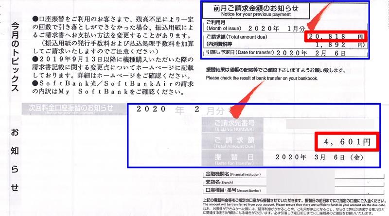 ソフトバンクモバイル携帯電話の請求書